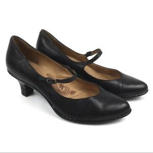 Sofft Black Leather Mary Janes Heels Shoes Sz 9.5M